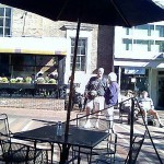 Strolling and sitting on Church Street, Burlington, VT