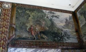 Renaissance frescoes deptict a hunting scene in the Villa D'Este