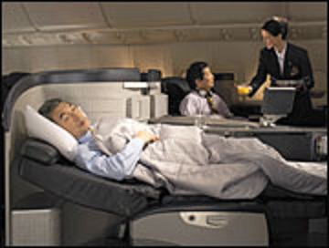 You can actually sleep when you have first-class seats.