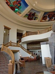 Murals over the Sheraton Wild Horse Pass Resort's Grand Staircase are done by a Native American artist