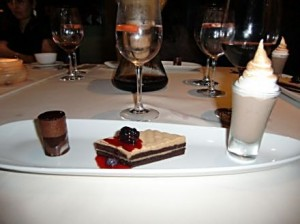 Chocolate Three Ways as a Mole Mousse Tower, Chocolate Espresso Buttermilk Cake and Ibarra Chocolate Shake make a perfect ending to a perfect meal at Kai