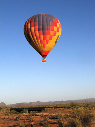 Hot air balloon over Sonoran desert