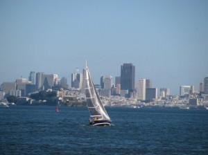 Sailboat against the backdrop of San Francisco
