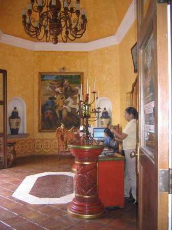 A colorful reception hall greets visitors at Mundo Cuervo