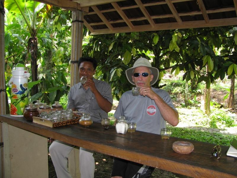 Steve and Gusti sample coffe and tea