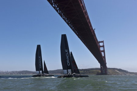Oracle Team AC45s under the Golden Gate