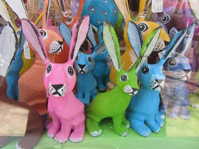 Folk Art Bunnies in a Santa Fe Window