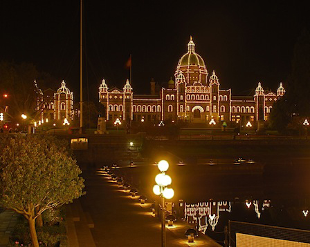 Victoria's Parliament Building at Night