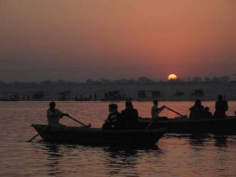 sunrise along the ganges river in varanasi india