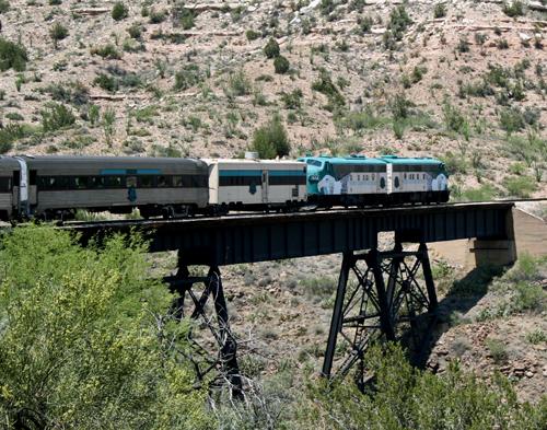Verde Canyon Railroad Crosses the S.O.B. Trestle